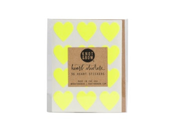 36 Neon Yellow Heart Stickers / FREE SHIPPING