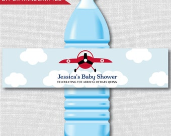 Red Vintage Airplane Party Water Bottle Labels - Plane Baby Shower-Weatherproof Water Bottle Labels - Digital or Handcrafted - FREE SHIPPING