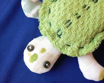Sea Turtle Softie-Cute Plush Toy-Handmade Turtle-Small Size-Stuffed Animal Gift-Handmade Embroidered Toy-Soft Washable Cotton Turtle-