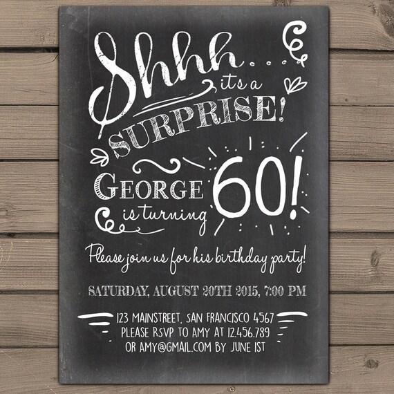Items Similar To Surprise 60th Birthday Invitation