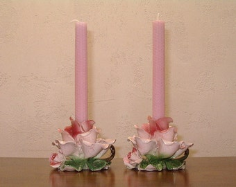 Set Of Two Light Pink Rolled Beeswax Candles