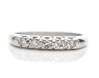 Circa 1920s Deco Era 5-Stone Platinum Diamond Wedding Band, ATL #360