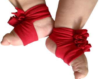 Baby Sandals - Baby Barefoot Sandals - Baby Red Shoes - Red Baby Shoes - Baby Shower - Baby Girl - Baby Accessory - Soft Baby shoes
