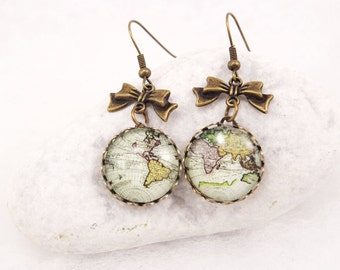 Antique Map Earrings World Map Earrings Vintage World Map Jewelry Globe Earrings Traveler Continents  Retro Earrings Valentines Gift for her