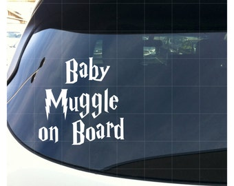 """Baby Muggle on Board - Harry Potter Baby on Board Decal - White 6"""""""