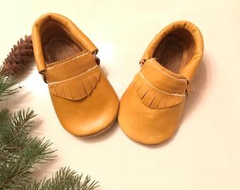 Sale.. Mustard Moccasins, Yellow Mustard Baby Moccasins, Mustard Baby shoes, Halloween Baby Moccasins