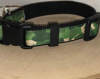 Green camouflage dog collar
