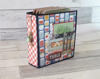 Recipe Book Mini Album - Instagram Photo Album - Foodie Journal - Premade Recipe Book - Handmade Scrapbook Album - Great Gift for Foodies -
