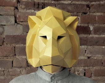Lion Mask, Masks for masquerade, Safari party, Papercraft pattern, Tropical birthday, Lion King, DIY gift, Origami mask, 3d Papercraft