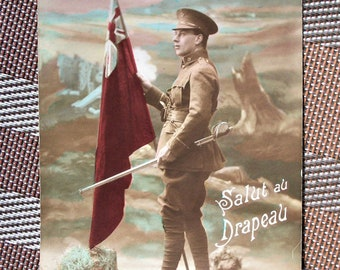 WWI Postcard of English Soldier's Salute to the Flag
