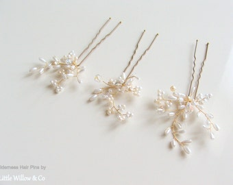 Wilderness Hair Pin Set, Wedding Hair Pins, Pearl and Crystal Hair Pins, Bridal Hair Pins, Wedding Hair Accessory, Woodland Hair Pins.