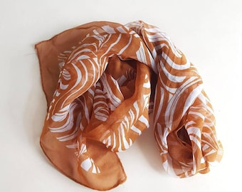 Vintage Caramel and Cream Striped Sheer Scarf