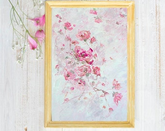 Pink Flower Canvas Pink Art Action Pink Roses Abstract Pink Peony Wall Art Abstract Flowers Light Color Pink Pastel Nursery Prints Bedroom