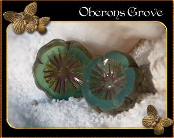 2 Hawaian Flower Beads 14mm Aqua Opalite