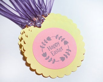 Easter bottle tag Champagne set 10 Handmade decoration happy easter yellow pink purple