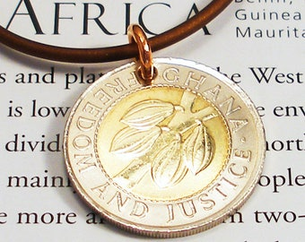 Ghana, Authentic Coin Necklace -- Hot Cocoa --- Africa - Rainforest - Agriculture - Arbor Day - Chocolate - Bimetal Coin - Silver and Gold