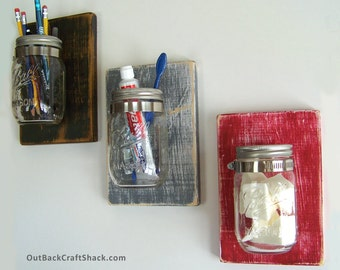 Mason Jar Decor: Planter / Sconce / Toothbrush Holder; Rustic Home Decor; Distressed Wood; Custom colors available!