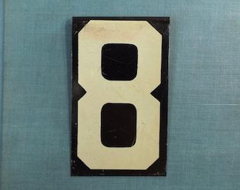 vintage. metal sign. sign. industrial. rustic. home decor. for him. for her. numbers. number sign. number. metal number. number 8