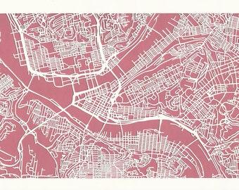 Pittsburgh cut paper map, 11x17