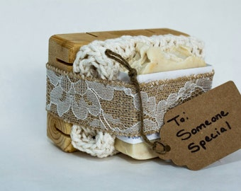 Soap gift set (includes handmade wood soap deck, washcloth, and your choice of any 5oz bar soap)