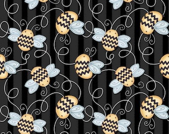 Sew Bee It - 6644-99 - Tossed Bees - Black by Shelly Comiskey of Simply Shelly Designs for Henry Glass