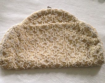 Vintage Beaded Off White Clutch Bag