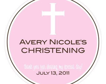 White Cross Personalized Baptism or Christening Stickers or Tags