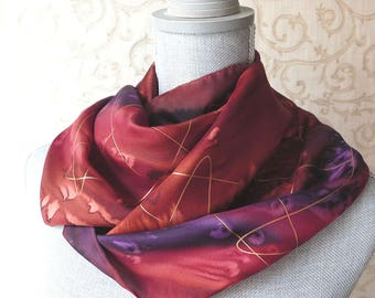 Handpainted Silk Scarf in Brown, Plum and Burgundy with Gold