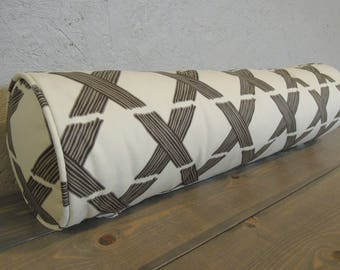 Bolster Pillow Cover, Ready to Ship, Bolster Pillow Cover with Piping, 8x30, Gray, Grey and Cream