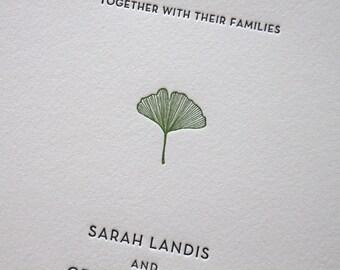 Gingko Leaf - Letterpress Wedding Invitation - simple leaf, Letterpress Wedding Invitation