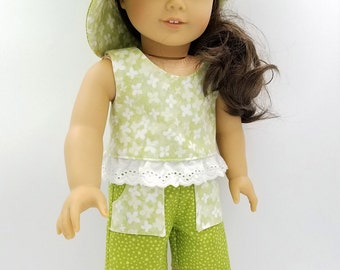 """Shorts, Top and Hat for 18 Inch Dolls Like American Girl; Doll Shorts and Top; Clothes for 18"""" Dolls; Sun Hat Outfit for Dolls"""