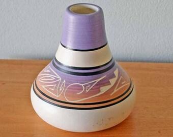 Vintage Native American Indian Vase Jar with Matte Finish Signed B D y