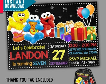 Baby Elmo Invitation, Baby Elmo Birthday, Sesame Street, Editable PDF Template, Instant Download, Editable Invitation, FREE Thank You Tags