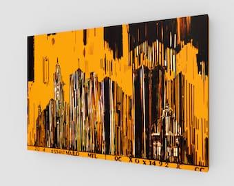 toile 3 x 2 numero 3 Code barre en jaune