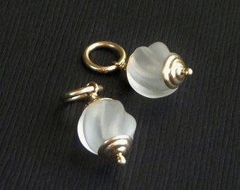 14K SOLID Gold Charms Frosted CAMPHOR Glass Pendants for Earrings Bracelet Necklace Interchangeable Charm Drop Dangles Genuine Gold Jewelry