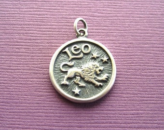 Sterling Silver Leo  Zodiac  Sign Medallion Pendant Charm
