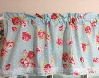 Shabby Chic Blue with Roses Valance ~ 42 Inches Wide