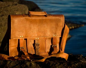 Hand Made Leather Satchel Tan Briefcase Laptop Portfolio Messenger Bag Real Leather Portfolio Attache Computer