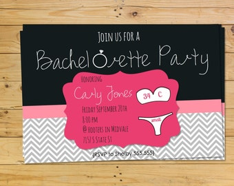 Pink and Black Bachelorette Party Invitation