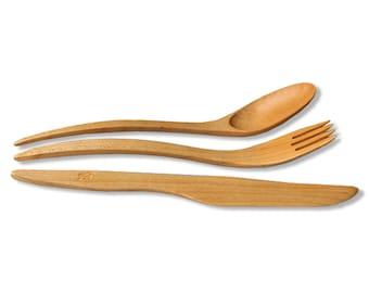 1 SET wooden utensils Maple Wood cutlery, utensils of 8'' (21cm) wooden fork, wooden spoons, wooden knive