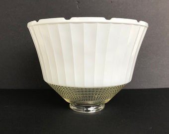 """Vintage 8"""" National Home Lamp Council No 954 Patented Pending Notched Glass Diffuser Reflector Bowl USA Torchiere Light Shade Clear & White"""