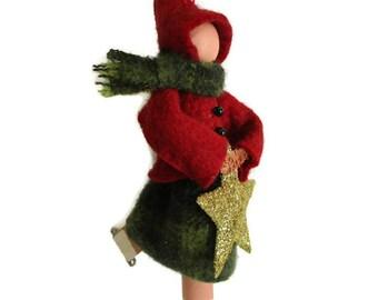Ice Skater Ornament, Skating Lady, Clothespin Ornament, Christmas Decor, Peg Doll, Ornament Exchange, Secret Santa Gift, Hostess Gift