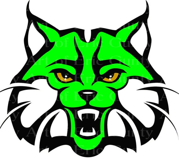 Green Bobcat Wildcat Mascot Birthday - Edible Cake and Cupcake Topper For Birthday's and Parties! - D22736