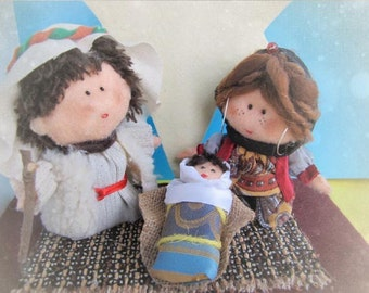 Nativity Set - Merry Christmas - felt figures - 3 pieces-Art dolls-Holy Land-mother and child, father, inspired- Custom orders welcome