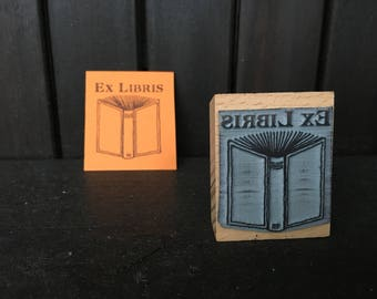 Open Book Bookplate Stamp Ex Libris Stamp with wooden holder - ready for shipping