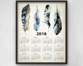Blue Jay Feathers Calendar 2018 - Watercolor Blue Jay Feathers Art - 2018 Blue Jay Bird Feathers Calendar - 2018 Feather Calendar