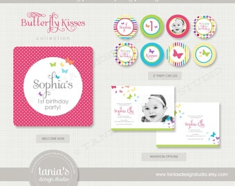 Butterfly Kisses Brights Printable Birthday Party Package by tania's design studio