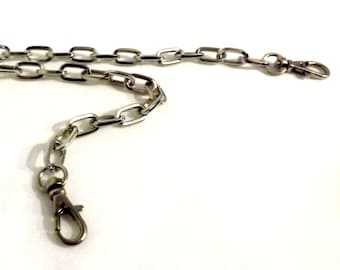 44 Inch Oval Link Nickel Purse Chain
