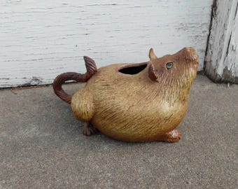 Hand Sculpted Stoneware Fat Cat Teapot
