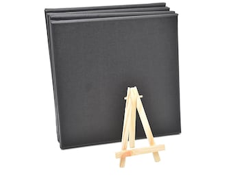Set of 4pcs Mini Artist Black Canvas Frame 8x8inch ( 20x20cm ) Oil Water Painting Board Flat Canvas with 1pc Mini Wood Display Easel